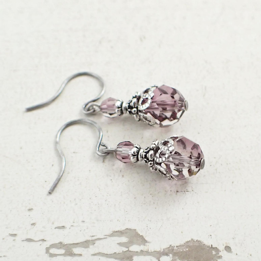 Antique Pink Crystal Earrings