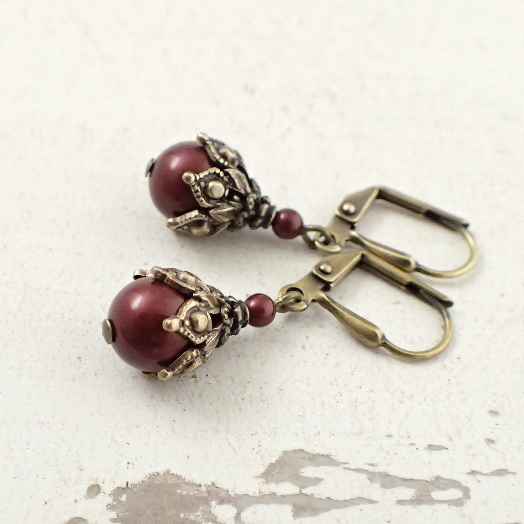 Burgundy Pearl Victorian Style Earrings
