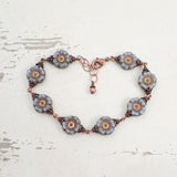 Dusty Denim Blue and Copper Flower Bracelet top view