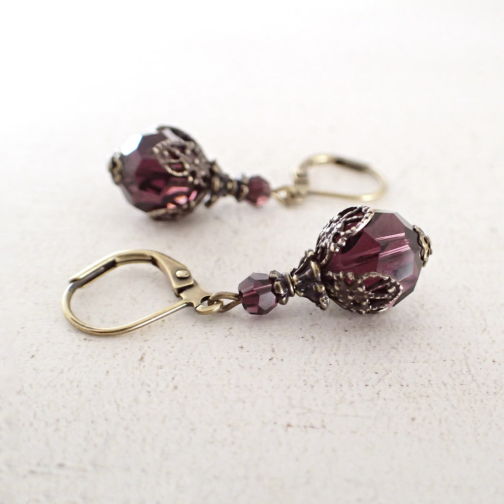 Renaissance Style Burgundy Crystal Earrings