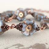 Dusty Denim Blue and Copper Flower Bracelet