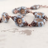 Artisan Czech glass flower bead bracelet