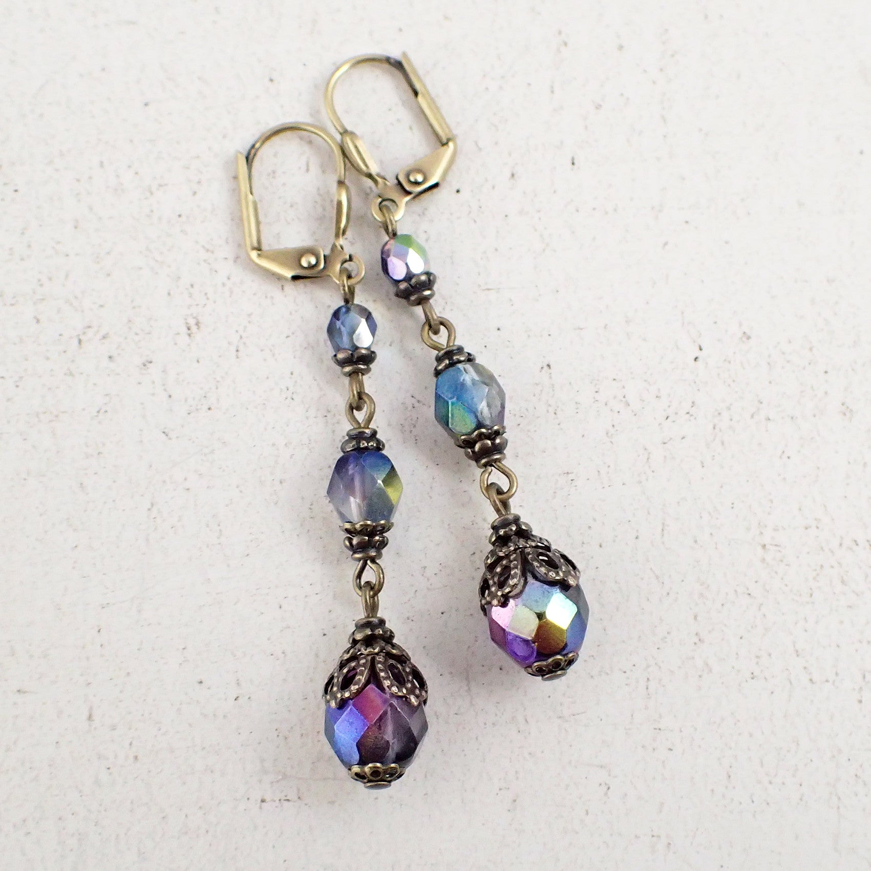 Long Iridescent Antique Style Earrings