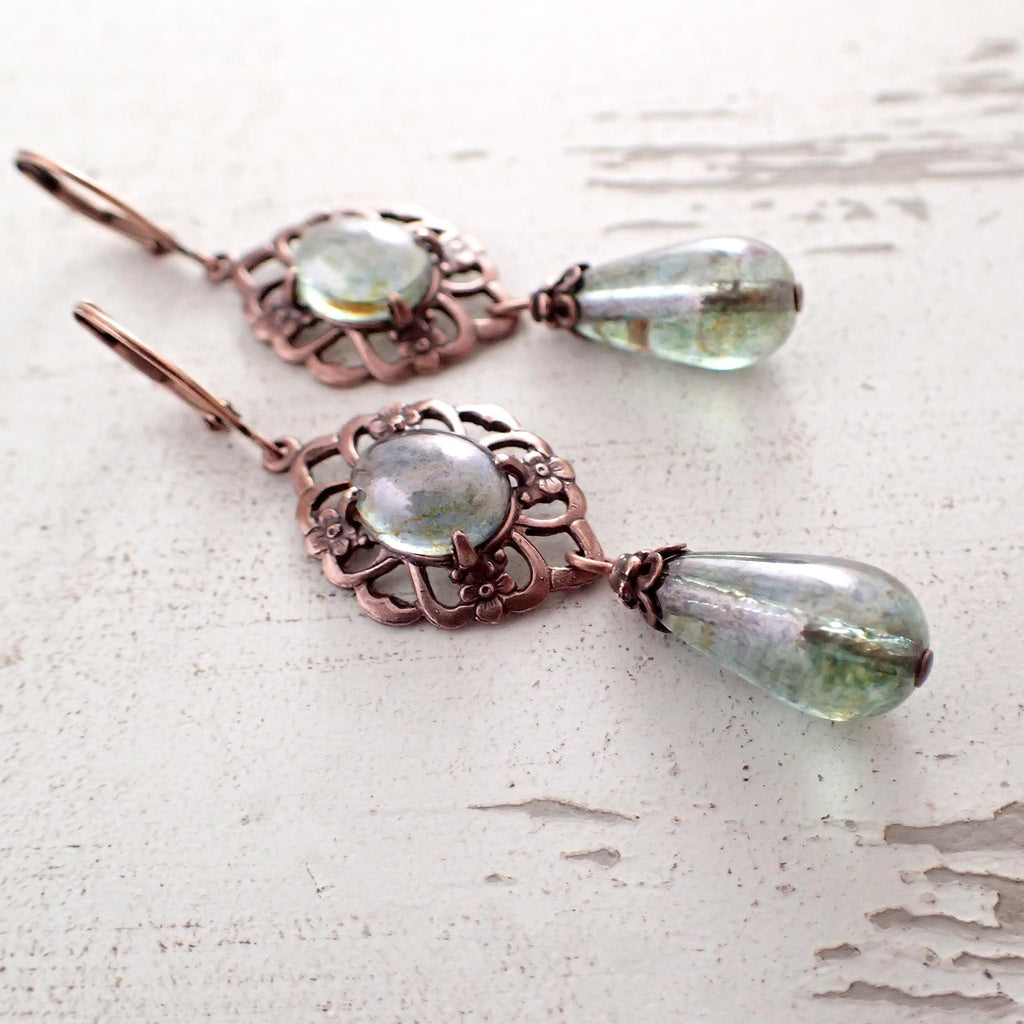 Long Green and Copper Earrings