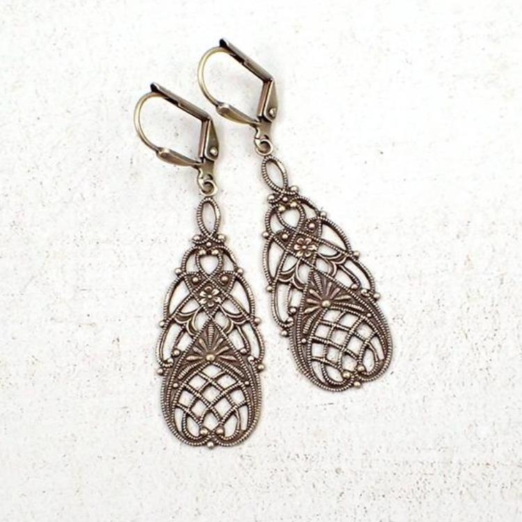 Vintage Style Floral Filigree Earrings