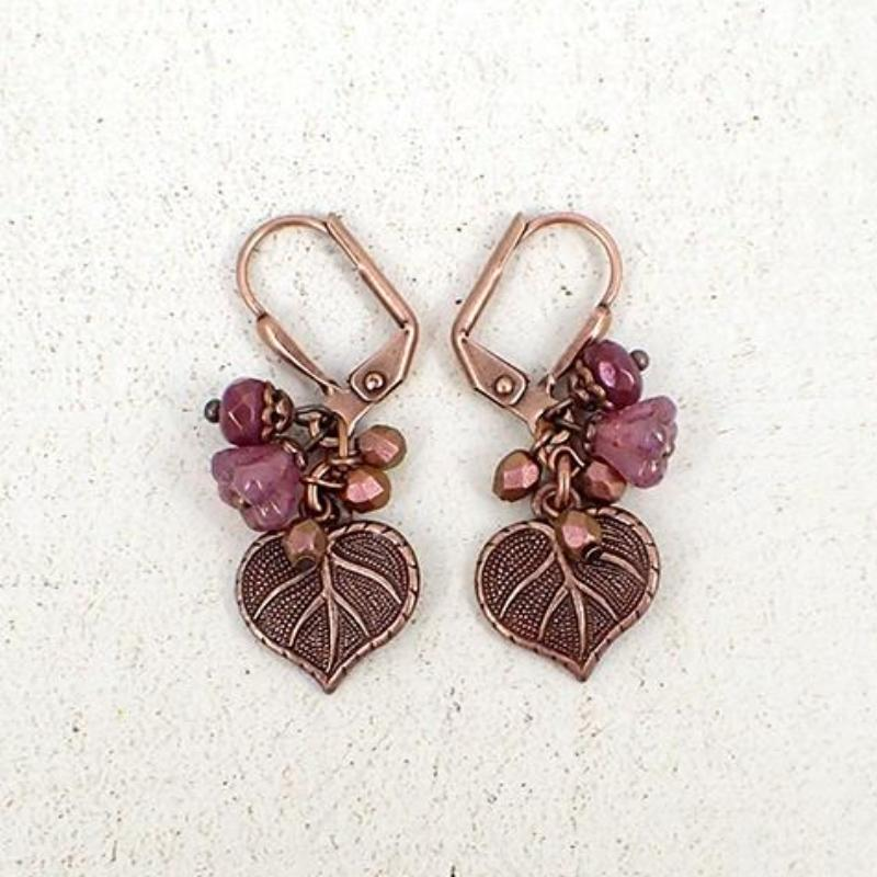 Heart Shaped Leaf and Flower Cluster Earrings