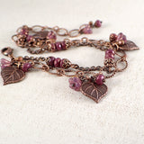 Heart Shaped Leaf and Flower Cluster Chain Bracelet