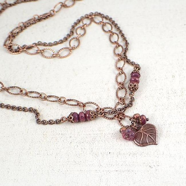 Heart Shaped Leaf and Flower Cluster Chain Necklace