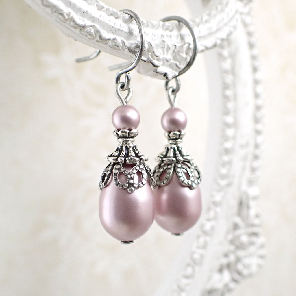 Antique Style Powder Pink Swarovski Pearl Earrings