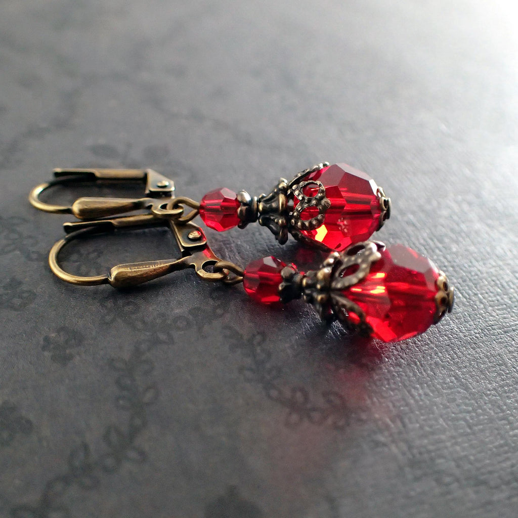 Romantic Red Victorian Style Swarovski Crystal Earrings