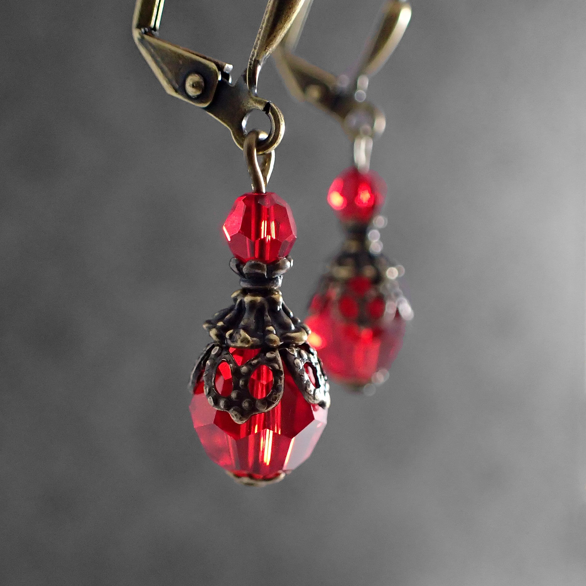 d7db2bb12 Red Victorian Style Swarovski Crystal Earrings - Ardent Hearts ...