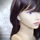 Romantic Red Victorian Style Swarovski Crystal Earrings on mannequin