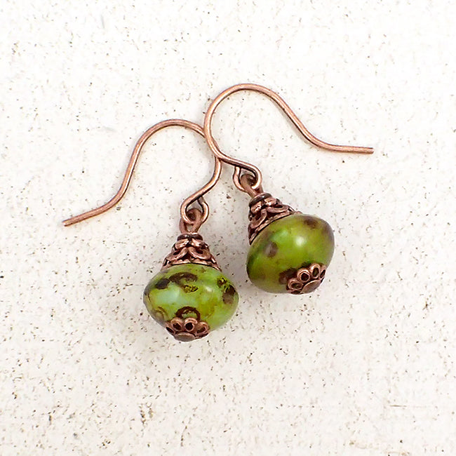 Rustic Green Czech Glass Rondelle Earrings