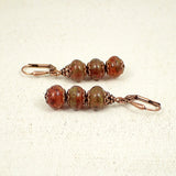 Rustic Burnt Orange Stacked Rondelle Earrings