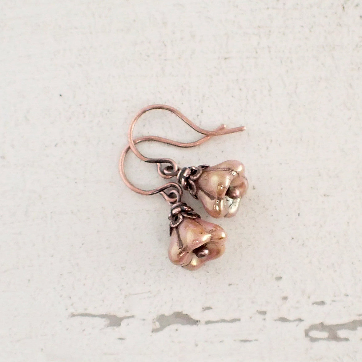 Rustic Dusty Pink And Copper Flower Earrings Ardent Hearts Designs