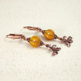 Orange Pumpkin and Oak Leaf Earrings