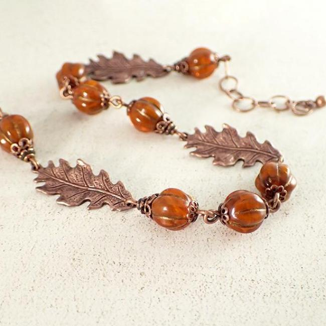 Rustic Burnt Orange Czech Glass Copper Oak Leaf Bracelet
