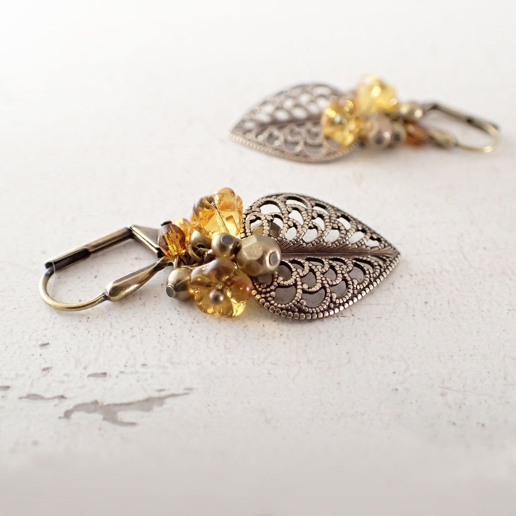Autumn Amber Blooms Filigree Earrings