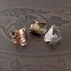 Copper, Bronze, or Silver Oak Leaf Ring