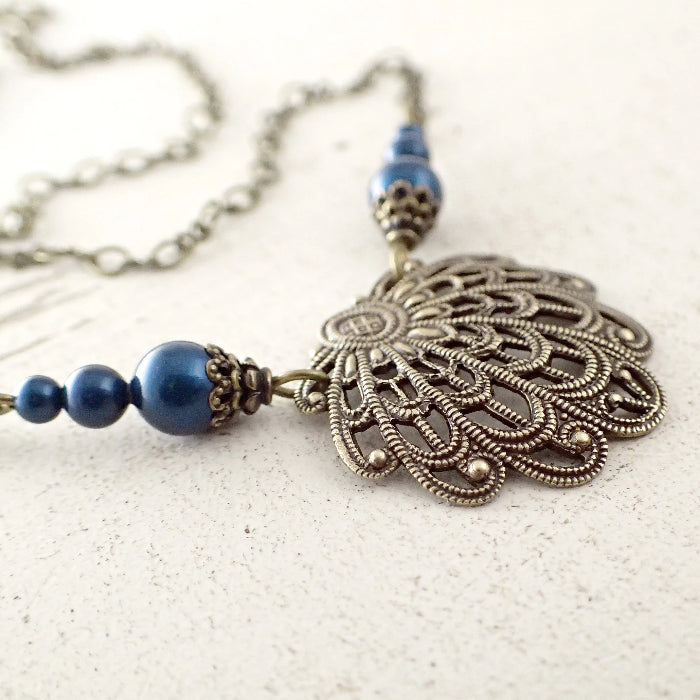 Victorian Filigree Seashell Necklace in Dark Teal