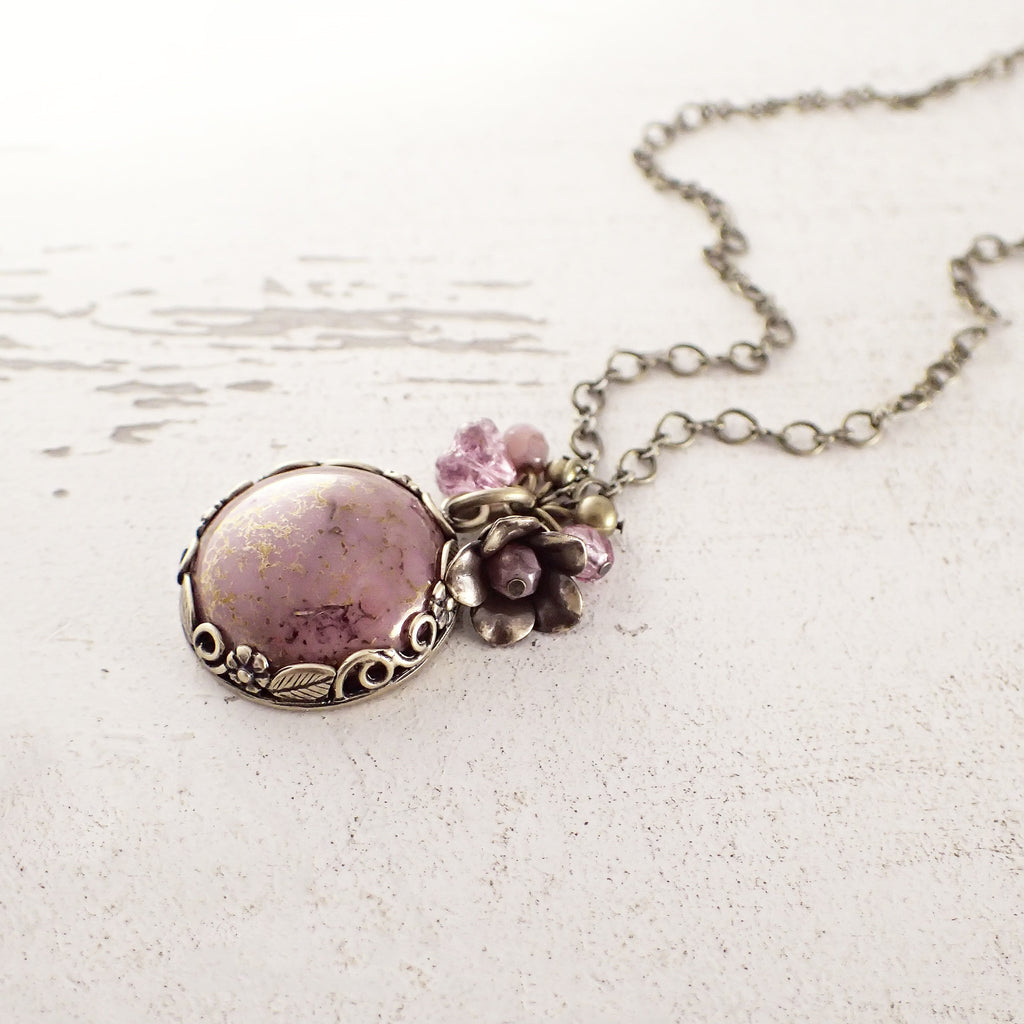 Dusty Rose Pink Floral Pendant Necklace