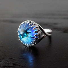 Blue and Silver Swarovski Crystal Cocktail Ring