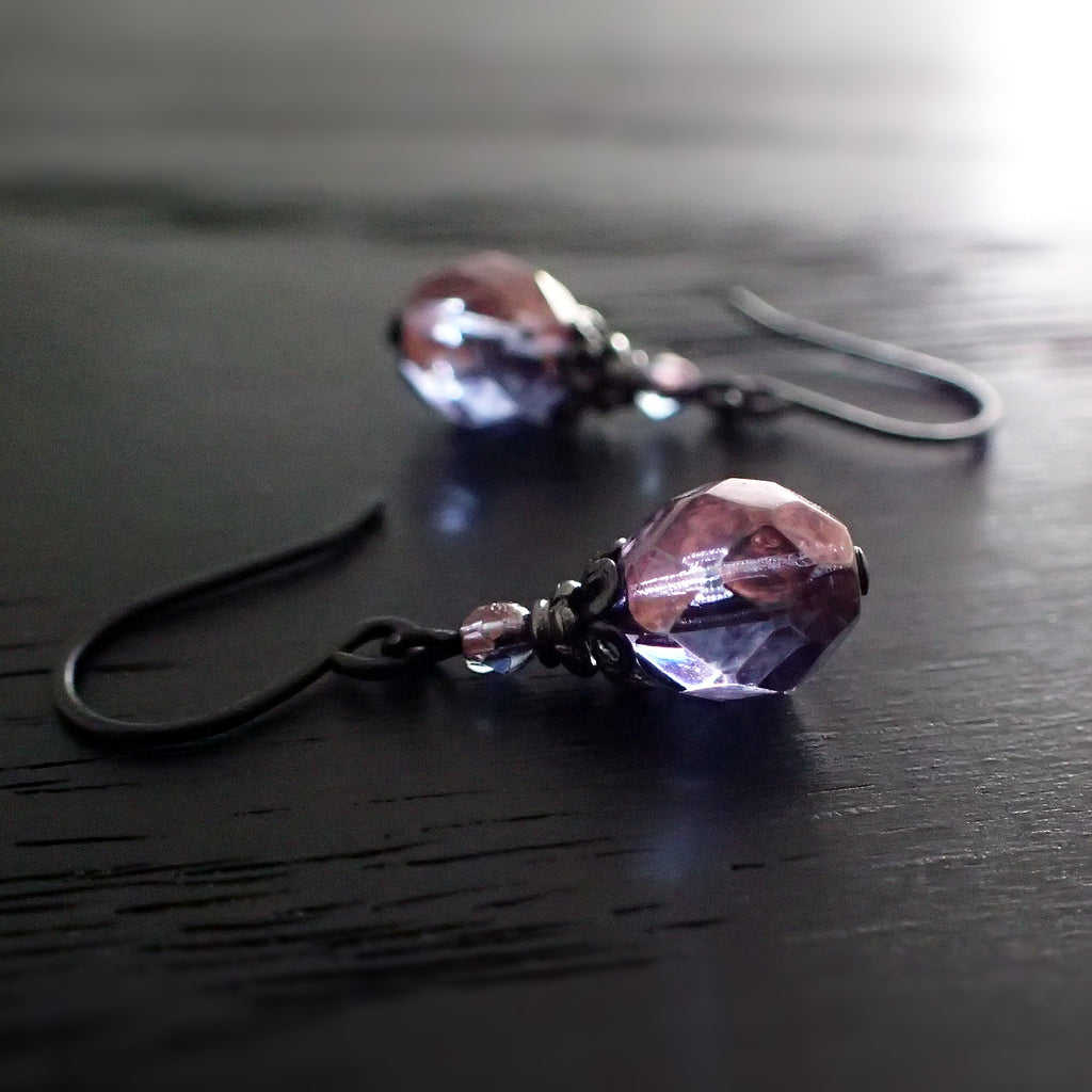 Lustered Purple and Black Metal Earrings