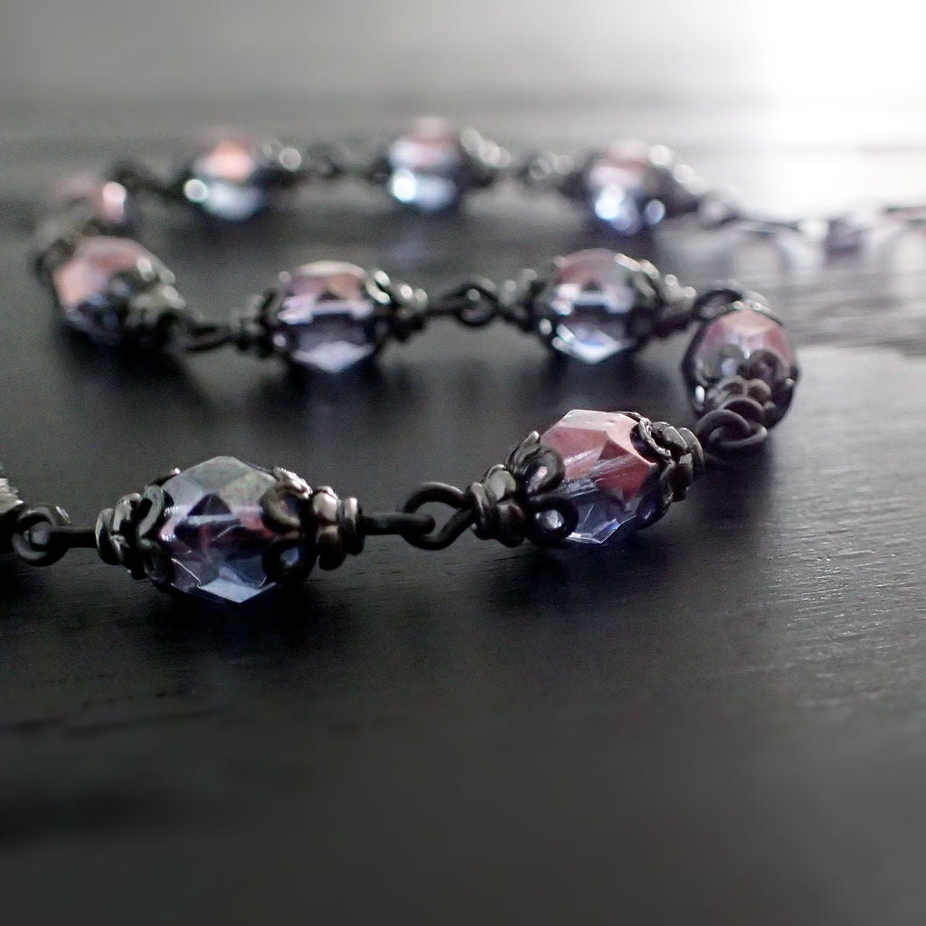 Lustered Purple and Black Metal Bracelet