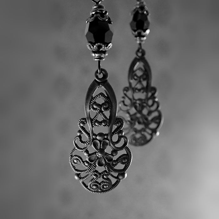 Victorian Gothic Filigree Drop Earrings