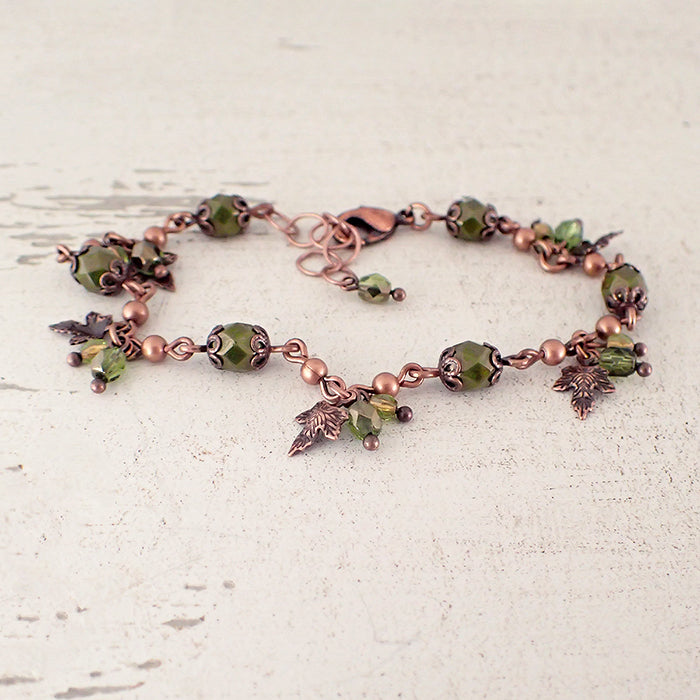 Olive Green Maple Leaf Charm Bracelet