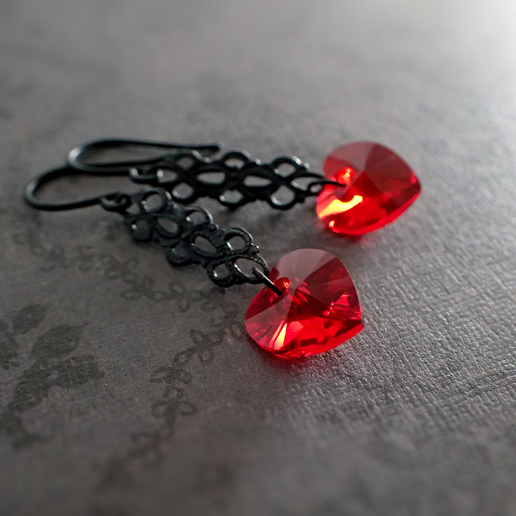 Gothic Heart Earrings with Swarovski Crystals