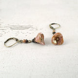Dusty Pink Long Flower Dangle Earrings detail view