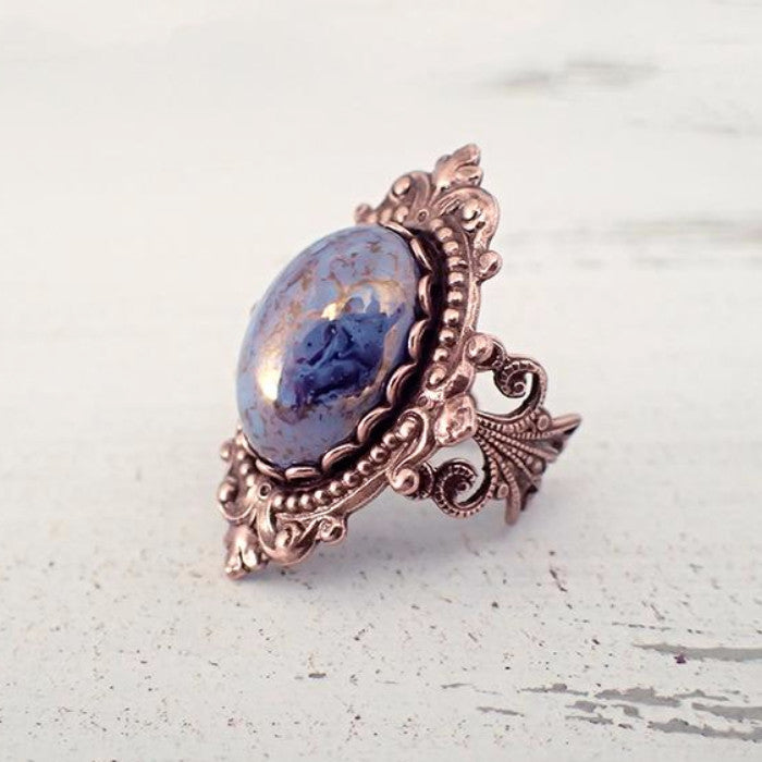 Lavender Statement Ring in Antiqued Copper