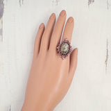Rustic Green Statement Ring in Antiqued Copper on model