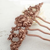 Floral Victorian Hair Comb in Antiqued Copper view 3