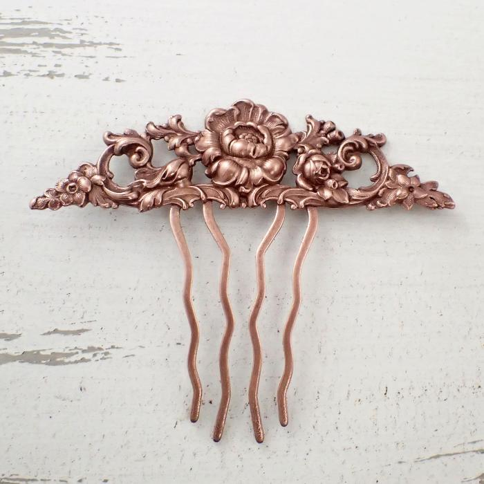 Floral Victorian Hair Comb in Antiqued Copper