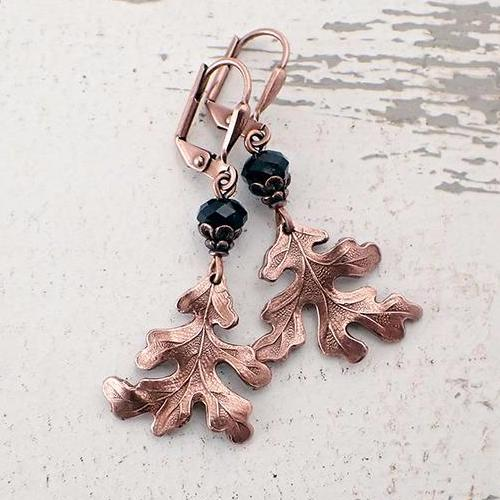 Antique Copper Wild Oak Leaf Earrings with Crystals