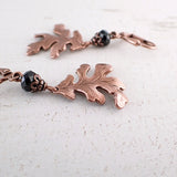 Antique Copper Wild Oak Leaf Earrings view 2