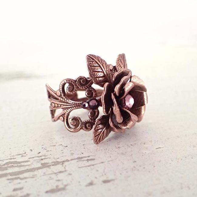 Copper Rose Filigree Ring with Pink Crystals