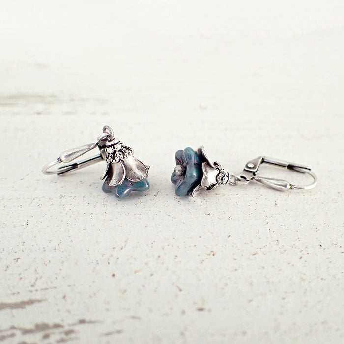 Dainty Teal and Silver Flower Earrings