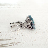 Dainty Teal and Silver Flower Earrings view 2