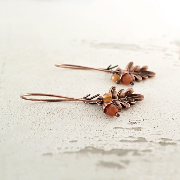Copper Oak Leaf and Acorn Charm Earrings