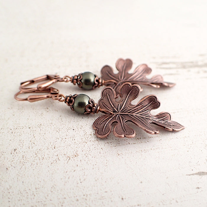 Dark Green and Copper Oak Leaf Earrings