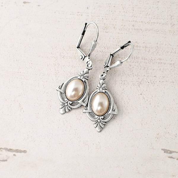 Art Deco Pearl Cabochon Earrings in Antiqued Silver Finish