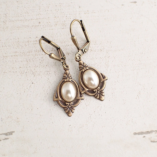 Art Deco Pearl Cabochon Earrings
