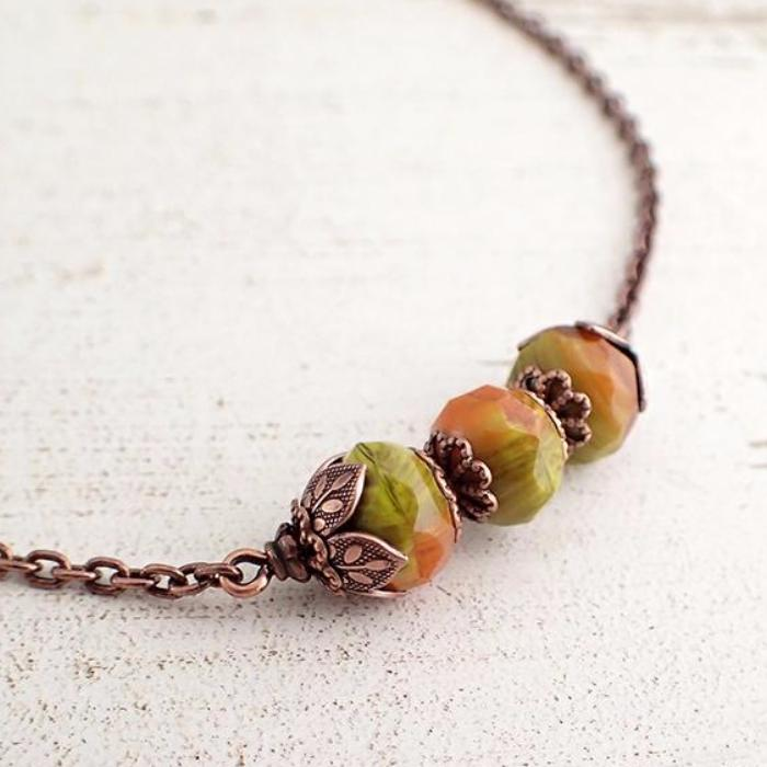 Rust and Light Olive Green Copper Necklace