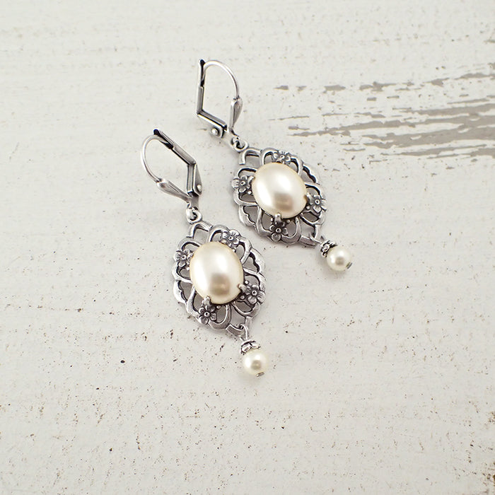 Antiqued Silver Floral Pearl Cabochon Earrings