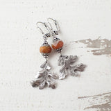 Rust Orange and Silver Oak Leaf Earrings