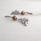 Rust Orange and Silver Oak Leaf Earrings view 2