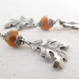 Rust Orange and Silver Oak Leaf Earrings view 3